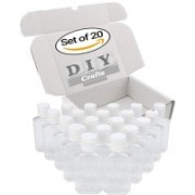 DIY Crafts BPA Free Clear Plastic Empty Bottles with Flip Cap for Travelling (2 Oz/60 ml) (Pack of 20) Travel Toiletry Kit(White)