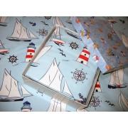 Set lenjerie pat copil 1 persoana Boat on the Sea, cu patura albastra, cutie CADOU personalizata, calitatea I, bumbac calitate lux
