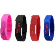 super combo UNISEX Magnet led watch(combo of black+blue+red+pink)