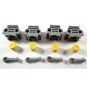 Lego NXT Technic - 4x Light Bluish Gray Technic Engine Cylinder without Side Slots + 4x Connecting Rod + 4x Yellow Engine Piston Round - Loose