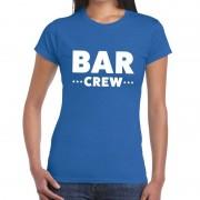 Bellatio Decorations Bar Crew / personeel tekst t-shirt blauw dames M - Feestshirts