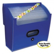 """13-Pocket Ladder Expanding File, 10"""" Exp, Letter, 13 X 12 1/4, Blue"""