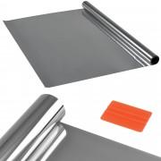 [casa.pro]® Privátní fólie na sklo - samolepící - 75cmx2m - stříbrná - zrcadlová