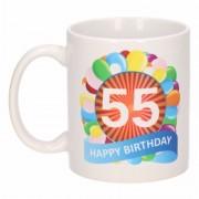 Shoppartners 55e verjaardag cadeau beker / mok 300 ml