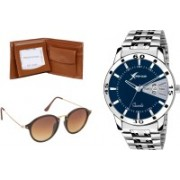 Rich Club Round Sunglass, Analog Watch, Wallet Combo(Blue, Brown)