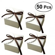 50Pcs Kraft Paper Candy Box Rustic Wedding Favors Candy Holder Bags Wedding Party Birthday Party Gift Boxes with Ribbon (White)