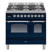 Aragaz ILVE Nostalgie Profesional PDN90, 90X60, 5 arzatoare,cuptor gaz+electric,arzator peste, aprindere electronica, albastru