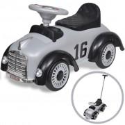 Детска кола за бутане, с дръжка, ретро дизайн, сива