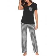 Uni-Wert Pijamas Mujer De Dos Piezas Algodon Ropa de Dormir Elegante t-Shirt y Pantalon Largos Negro
