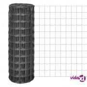 vidaXL Euro Ograda 10x1,7 m s Mrežom od 100x100 mm Čelik Siva