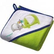 Бебешка велурена кърпа за баня с качулка - зелена, 138 04 Babyono, 7930059