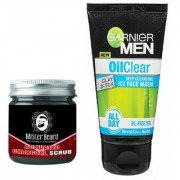 Mister Beard Activated Charcoal Scrub 100gm WITH Garnier Oil Clear Deep Cleansing Face Wash