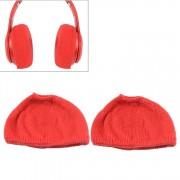 2 stks gebreide hoofdtelefoon stofdichte beschermende case voor beats Studio2 (rood)