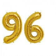 Stylewell Solid Golden Color 2 Digit Number (96) 3d Foil Balloon for Birthday Celebration Anniversary Parties