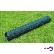 vidaXL Žičana mreža od čelika s PVC oblogom za kokoši 25 x 1 m zelena