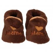 Babyslofjes Kraamcadeau bruine babyslofjes/pantoffels love mama