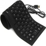 vu4 109 Keys With Numeric Keys Silicone Rubber Waterproof Flexible Foldable Wired USB Laptop Keyboard (Black)