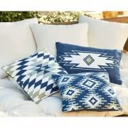 LOBERON Kussenhoes set van 3 Leonice / blauw/wit