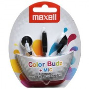 Maxell in ear color Budz Earphone with Mic For iPhone iPod Smartphone MP3(Black)