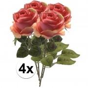 Bellatio flowers & plants 4x Roze rozen Simone kunstbloemen 45 cm