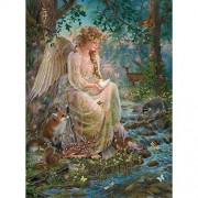 Bits and Pieces - 300 Large Piece Glitter Jigsaw Puzzle for Adults - Mother Nature - 300 pc Forest Fantasy Angel Jigsaw by Artist Liz Goodrick-Dillon