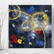 Tablou Canvas Maini Colorate in Compozitie Abstracta CTB41 (Optiuni Tablou: 60x60cm)
