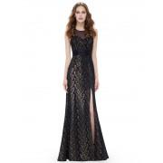 Černozlaté šaty s rozparkem