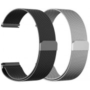 CAGOS Compatible Galaxy Watch (42mm)/Gear Sport Bands Sets, 20mm 2 Pack Stainless Steel Milanese Loop Mesh Bracelet Strap Replacement for Galaxy Watch 42mm/Garmin VivoActive 3/ Ticwatch E -Small