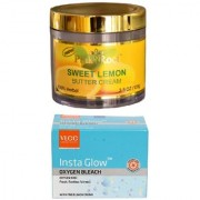 VLCC Insta Glow Oxygen Bleach 30gm and Pink Root Sweet Lemon Butter Cream 100gm Pack of 2