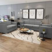 vidaXL Conjunto de sofás, 3 pcs, tecido cinzento claro