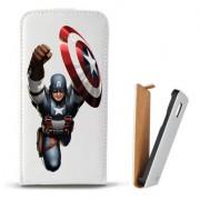Toc Samsung Galaxy Core 4G LTE G386F Husa Piele Ecologica Flip Vertical Alba Model Captain America Figure