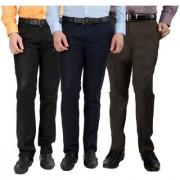 Gwalior Pack Of 3 Formal Trousers - Black Blue Brown