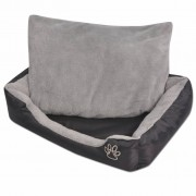 vidaXL Кучешко легло с подплатена възглавница, размер XL, черно
