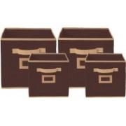 Billion Designer Non Woven 4 Pieces Small & Large Foldable Storage Organiser Cubes/Boxes (Coffee) - CTKTC35331 CTKTC035331(Coffee)