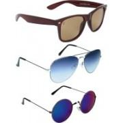 Zyaden Wayfarer, Aviator, Round Sunglasses(Brown, Blue, Blue)