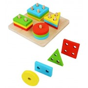 VolksRose® Creative Wooden Color and Shape Geometric Sorting Board - Stack & Sort Puzzle Toys for Child 3 Year...