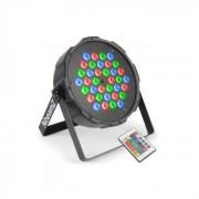 FlatPAR 36 x 1W holofote LED RGB DMX IR com controlo remoto incluido