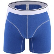 iKingsky Men's Cotton Trunks Underwear Solid Color Boxer Briefs (US Small/with Tag XL, Blue)