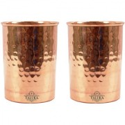 Taluka Set of 2 Traditional Handmade Pure Copper Glass Cup Volume 350 ML Water Storage for Good Health Yoga Ayurveda Benefits Tumbler