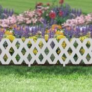 Virágágyás szegély / kerítés fehér , műanyag 60 x 22 cm