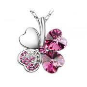 Swarovski kristályos szerencse nyaklánc pink szinű kővel