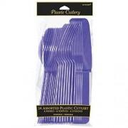 Amscan Party Perfect Reusable Plastic Cutlery Set (24 Piece), Purple, 9 x 4.4