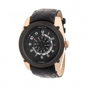 Heritor Automatic Daniels Semi-Skeleton Leather-Band Watch - Rose Gold/Black HERHR7406