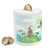 Fantasy Piggy Bank by Lunarable, Dragon Flying toward the Castle to Save Princess Surreal Dream World Monsters Kids, Printed Ceramic Coin Bank Money Box for Cash Saving, Multicolor