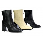 Beta Shoes T/A Shoe Fest £22.99 for a pair of ladies chunky square heel ankle boots in Black, Off White or Black Patent Faux Crocodile in UK sizes 3-8 from Shoe Fest