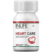 INLIFE Heart Care Supplement - Arjuna Moringa Ashwagandha Green Tea Turmeric (Curcumin) Extracts 500 mg - 60 Veget