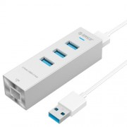 ORICO ASH3L-U3 Aluminum USB3.0 HUB with RJ45 for Laptops / Smartphones / Desktops(Silver)