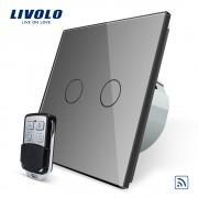 Intrerupator LIVOLO cu touch dublu wireless telecomanda inclusa, gri