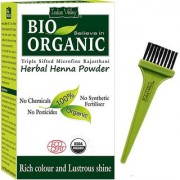 Indus valley Bio Organic Herbal Henna Powder with Applicator Brush Combo Kit