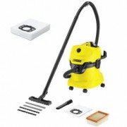 Home kit - Aspirator uscatumed Karcher WD 4 1000 W GalbenNegru + 4 saci Vlies extra